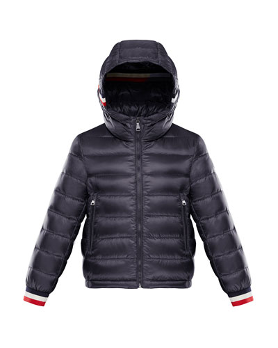 Quilted Hooded Jacket w/ Striped Trim, Size 8-14
