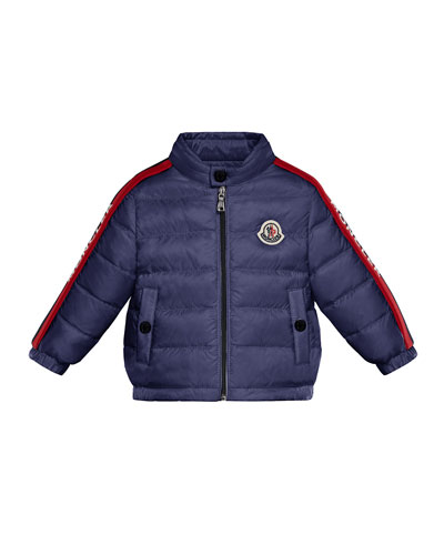 Logo-Trim Quilted Stand-Collar Coat, Size 12M-3