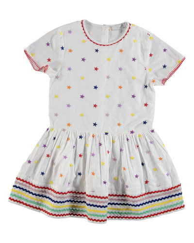 Short-Sleeve Embroidered Star Dress, Size 4-14
