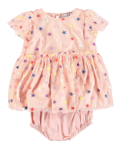 Multicolored Embroidered Star Tulle Dress w/ Bloomers, Size 6-36 Months