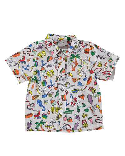 Toys & Food Print Snap-Front Collared Shirt, Size 12-36 Months
