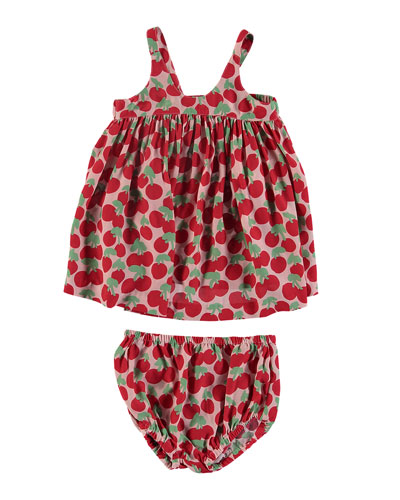 Cherry-Print Sleeveless Dress w/ Bloomers, Size 6-36 Months