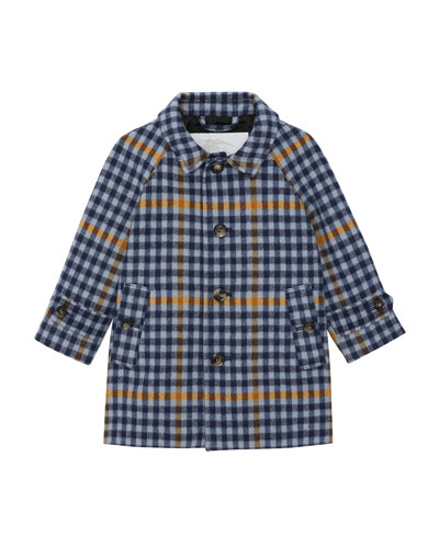 Bradley Plaid Wool Coat, Size 12M-2