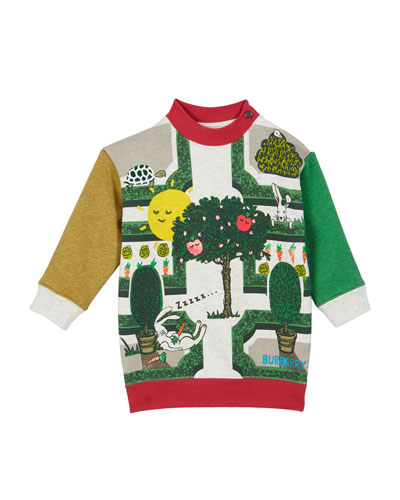 Garden Maze Colorblock Sweatshirt Dress, Size 12M-2