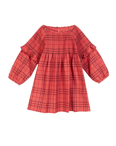 Loralie Long-Sleeve Dyed Check Dress, Size 6M-2