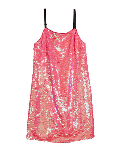 Chelsea Paillettes Spaghetti-Strap Dress, Size 7-16