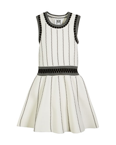 Vertical Textural Knit Flare Dress, Size 4-6