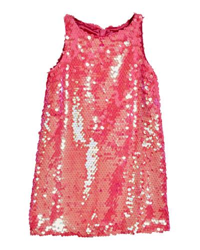 Paillettes Angular Sleeveless Shift Dress, Size 4-6