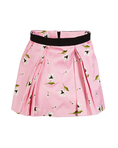 Katie Floral-Print Pleated Skirt, Size 7-16