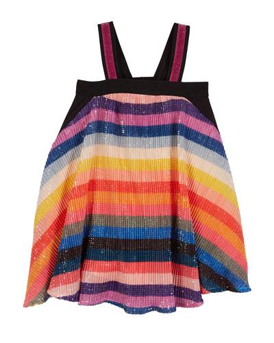Sequin Stripe Sleeveless Dress, Size 7-14