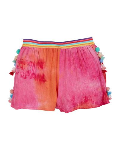 Hannah Banana Woven Tie Dye Shorts w/ Tassel