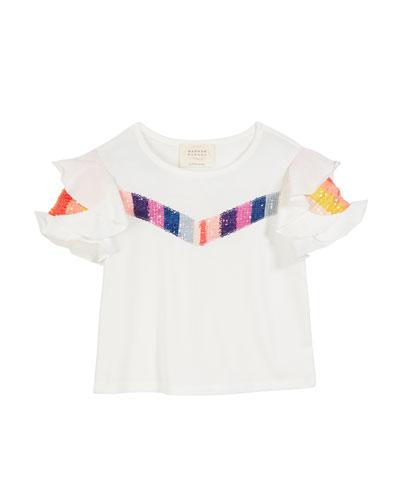 Sequin Stripe Ruffle-Sleeve Top, Size 7-14