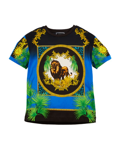 Short-Sleeve Lion Graphic Tee, Size 8-10