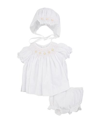 82181104372 Smocked Bishop Dress w  Bonnet   Bloomers