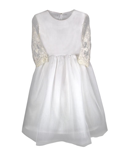 Lovely Tulle Lace-Sleeves Dress, Size 6-8