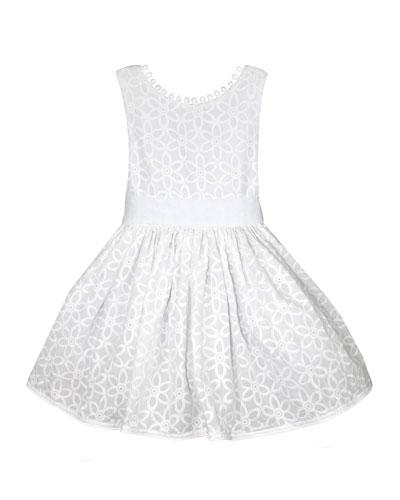 Floral Embroidered V-Back Loops Dress, Size 2-6