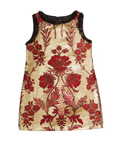 Metallic Floral Jacquard Sleeveless Dress, Size 8-12