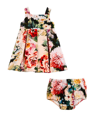Box Pleat Floral Dress w/ Matching Bloomers, Size 6-30 Months