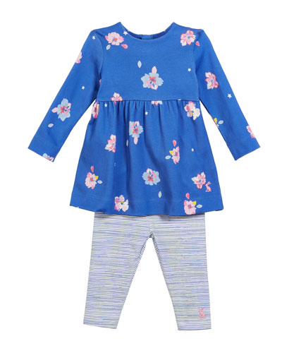 Christina Long-Sleeve Floral Dress w/ Striped Leggings, Size 6-24 Months