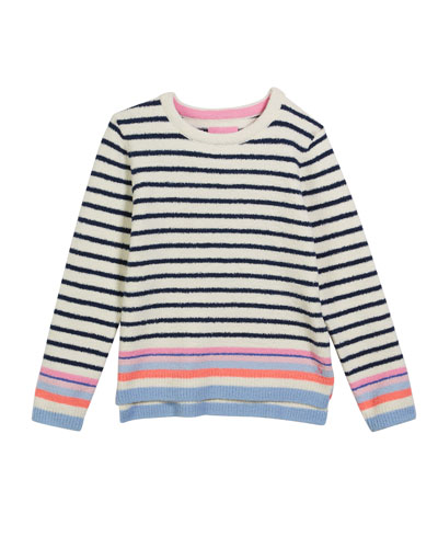 Seaham Striped Knit Microfiber Sweater, Size 4-10