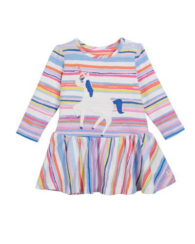 Matilda Striped Unicorn Dress, Size 6-24 Months