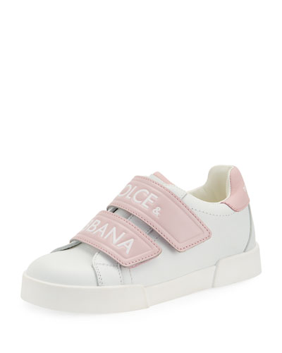 Double-Strap Two-Tone Leather Logo Sneakers, Kids
