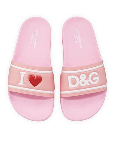 Leather I Heart D&G Pool Slide Sandals