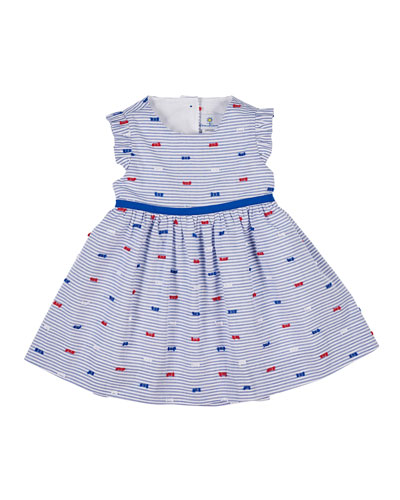 Butterfly Kisses Striped Cutaway-Back Dress, Size 12-24 Months