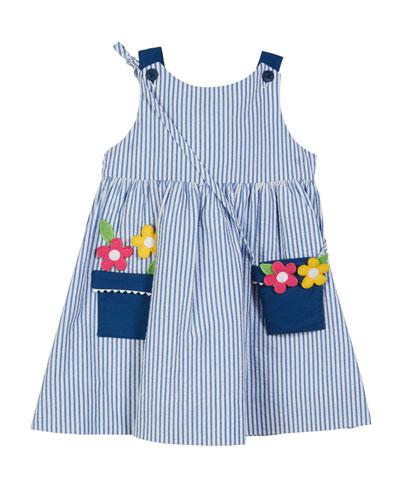 Striped Seersucker Flower Pot Dress w/ Crossbody Bag, Size 2-6X