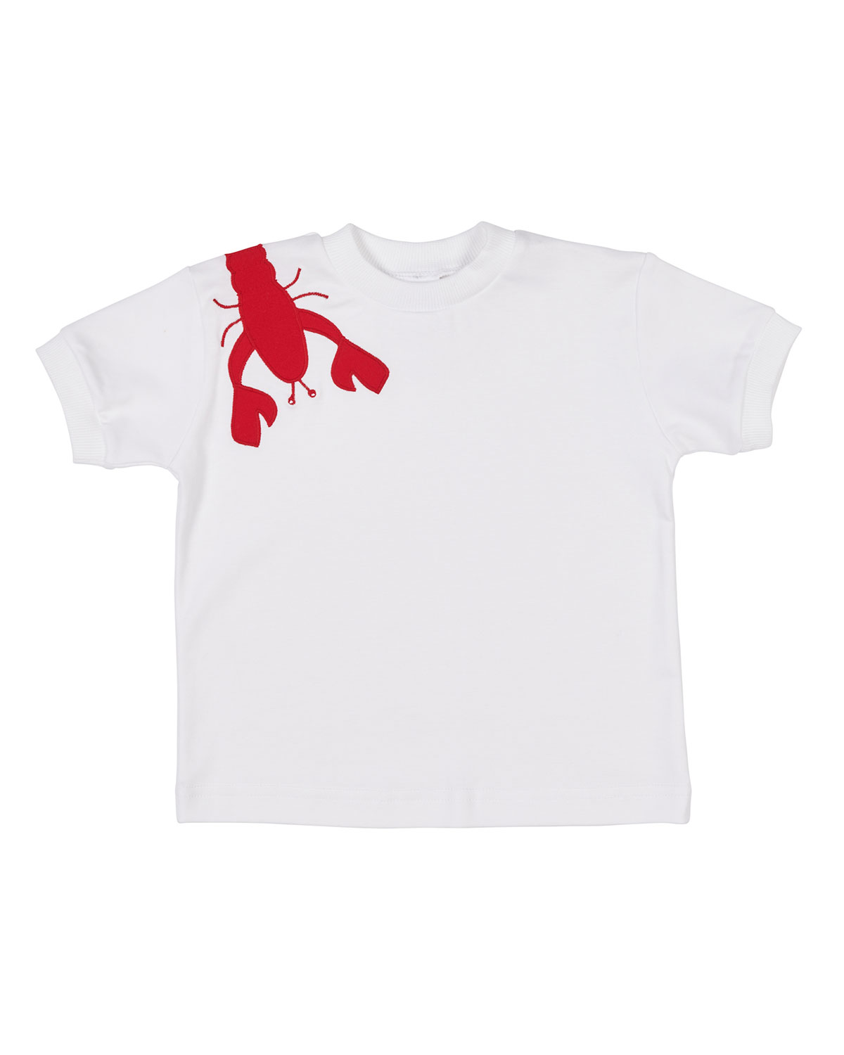 FLORENCE EISEMAN Short-Sleeve Pima Cotton T-Shirt W/ Lobster Applique, Size 2-4 in White