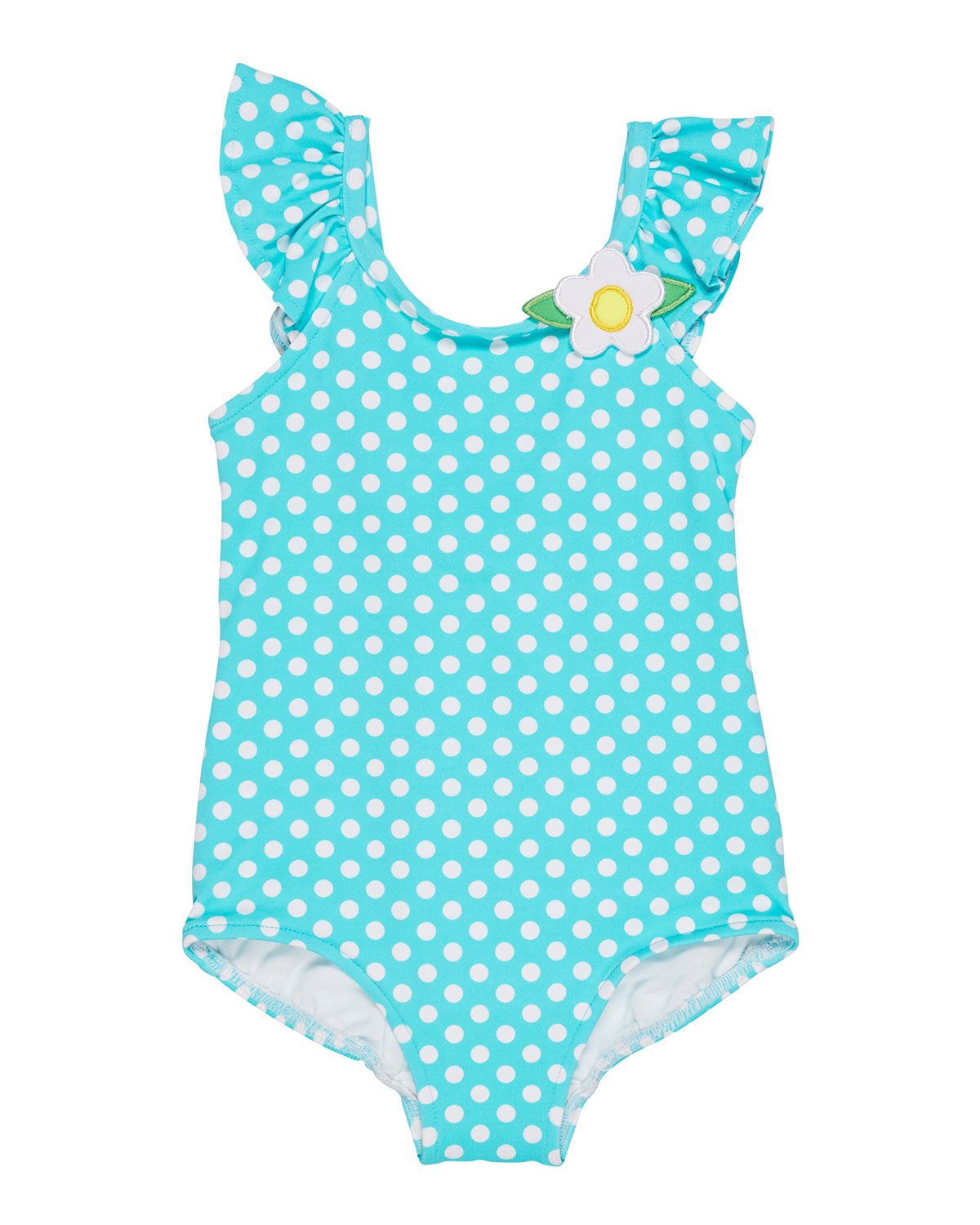FLORENCE EISEMAN Polka-Dot Ruffle-Sleeves One-Piece Swimsuit, Size 2-4 in Blue