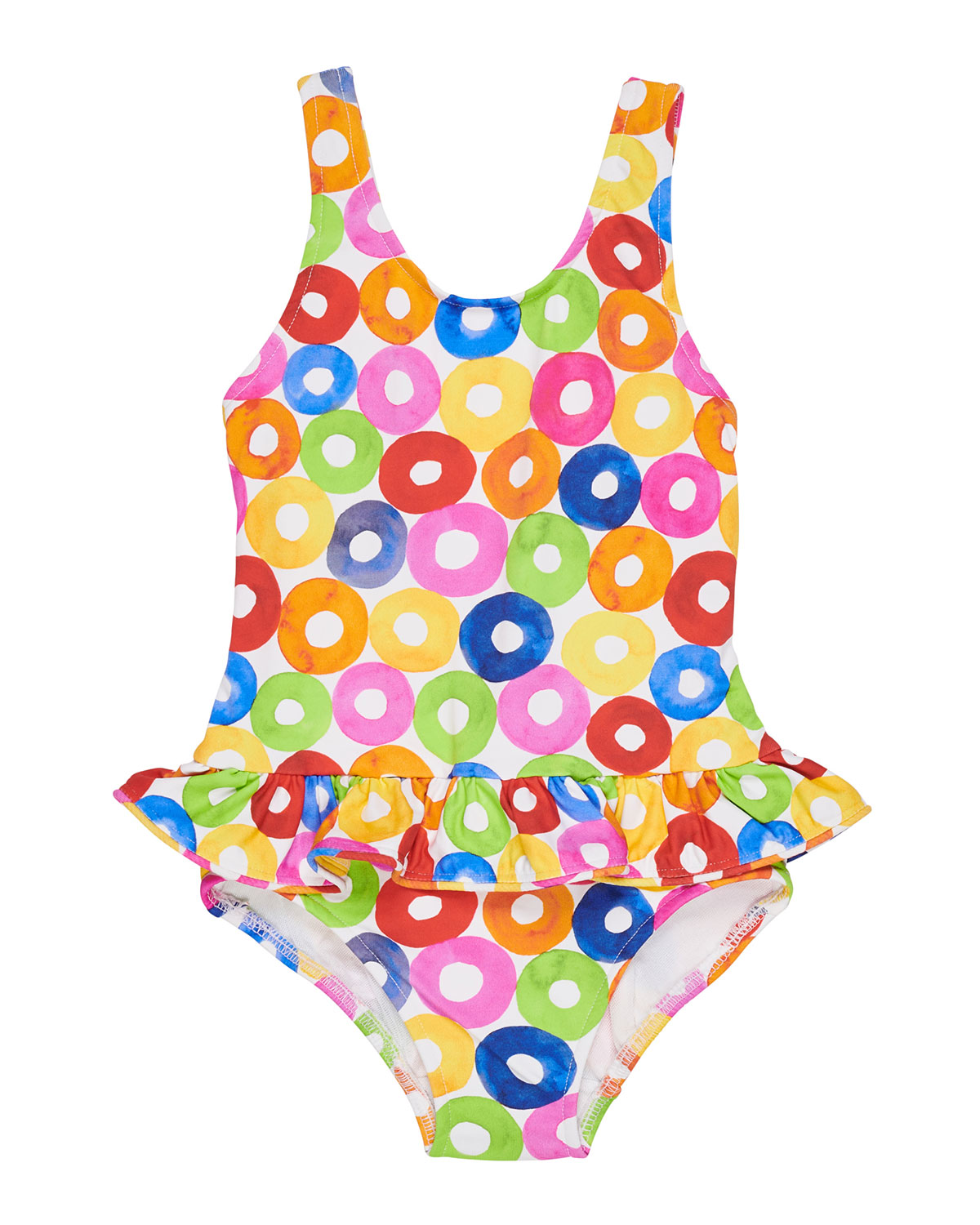 FLORENCE EISEMAN Multicolored Lifesaver-Print One-Piece Swimsuit, Size 2-4
