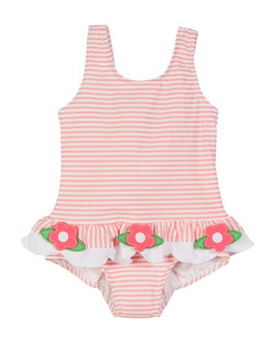 Striped Seersucker Ruffle-Skirt One-Piece Swimsuit, Size 2-6X