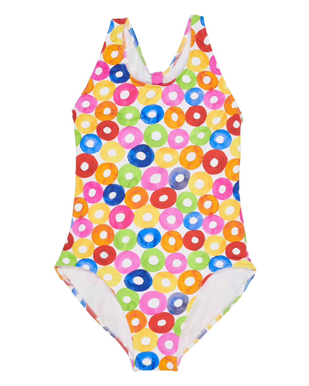 FLORENCE EISEMAN Multicolored Lifesaver-Print Cutout Back One-Piece Swimsuit, Size 5-6X