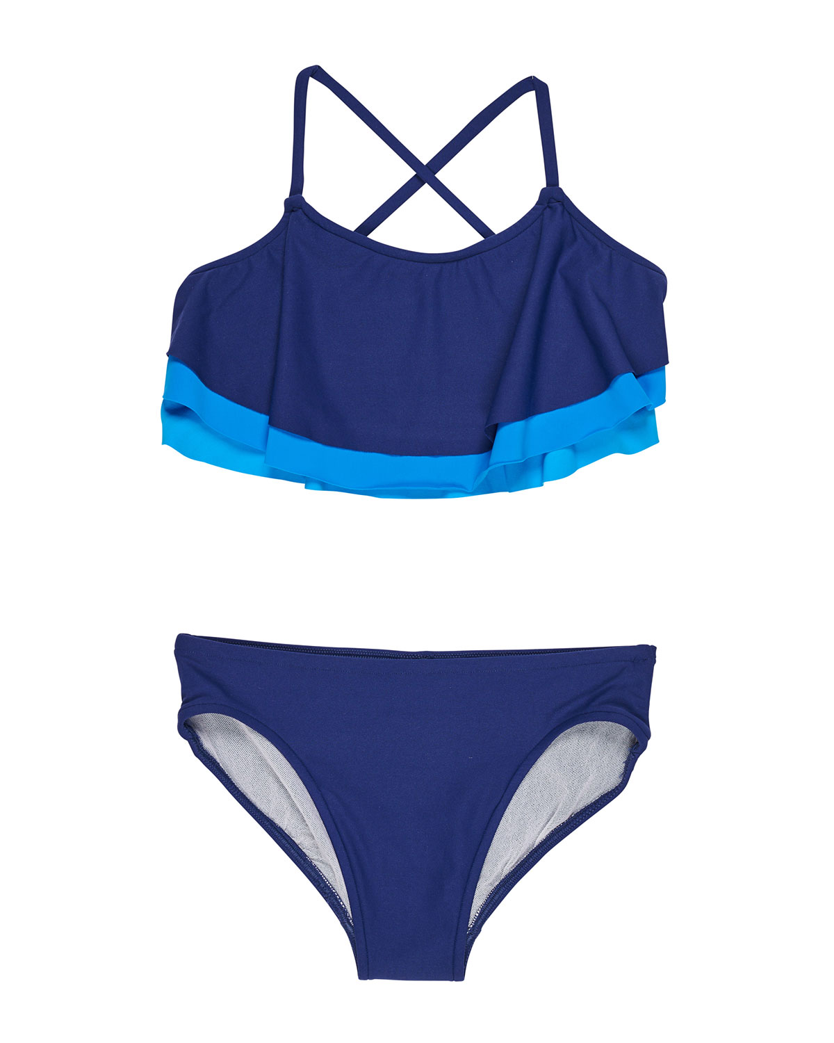 FLORENCE EISEMAN Shades Of Blue Two-Piece Swimsuit, Size 7-14