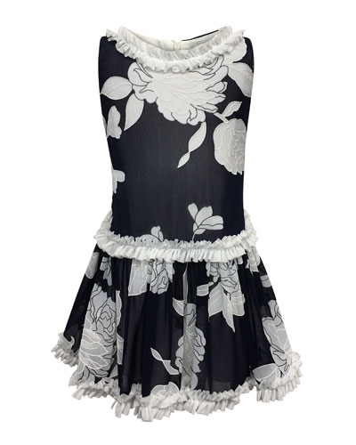 Peony Embroidered Ruffle-Trim Dress, Size 4-6
