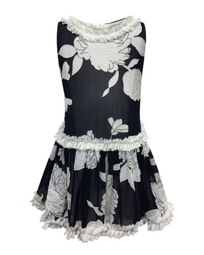 Peony Embroidered Ruffle-Trim Dress, Size 7-14