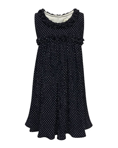 Tiny Dots Empire Ruffle-Trim Dress, Size 7-14