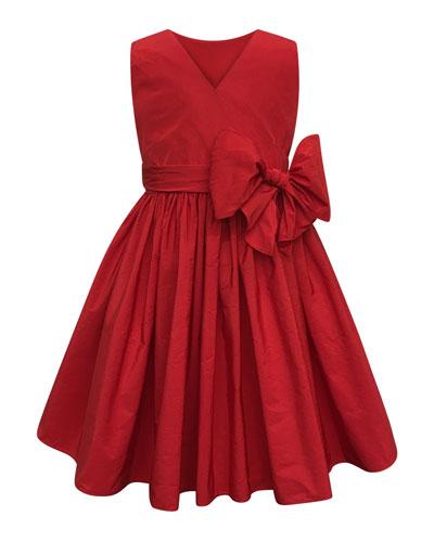 Sleeveless Cotton Dress w/ Big bow, Size 7-14