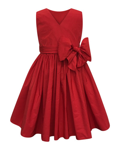 Sleeveless Cotton Dress w/ Big bow, Size 2-4