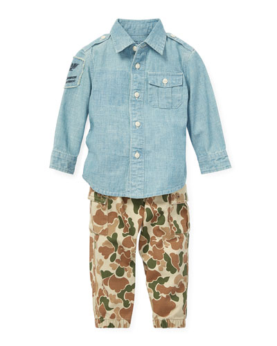 Chambray Button-Down Top w/ Camo Cargo Pants, Size 6-24 Months