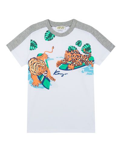 Surfing Tiger Friends Graphic Mixed Material T-Shirt, Size 8-12