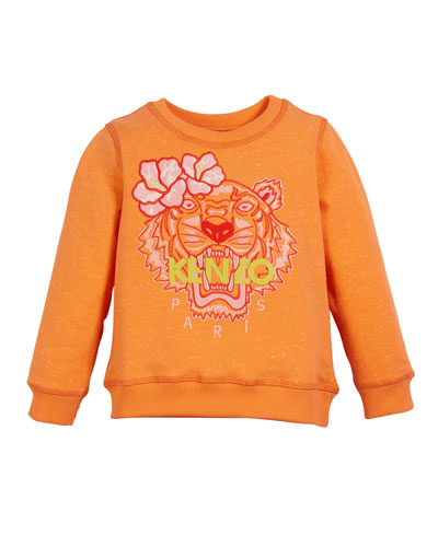 Floral Tiger Embroidered Sweatshirt, Size 2-4