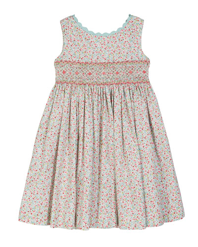 Floral Scalloped-Trim Smocked Dress, Size 2-4T