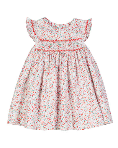 Cherry-Print Smocked Dress, Size 6-24 Months