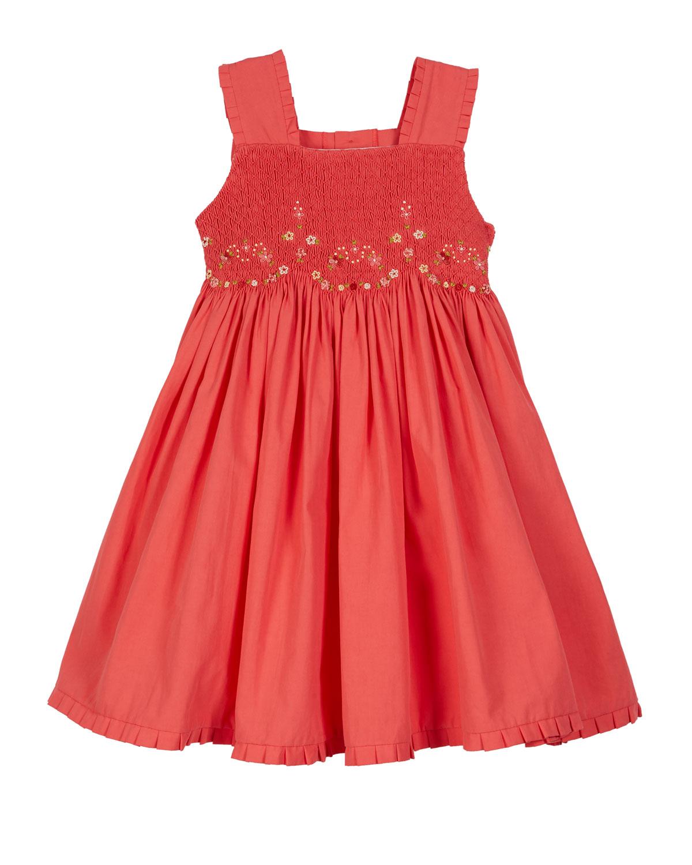 Luli & Me Dresses RUFFLE-TRIM SMOCKED DRESS