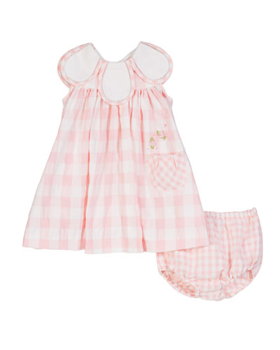 Gingham Petal-Collar Dress w/ Matching Bloomers, Size 3-24 Months