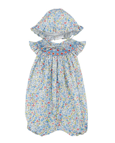 Luli & Me Floral Smocked Bubble Romper w/