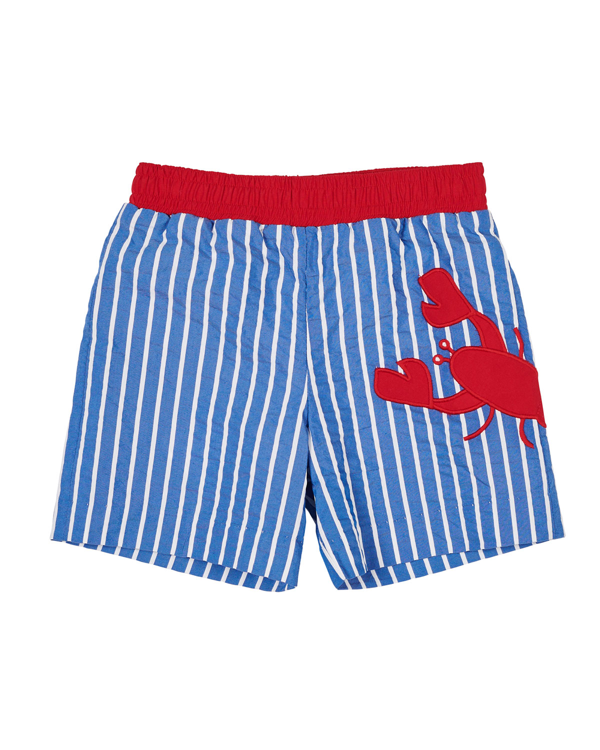FLORENCE EISEMAN Striped Lobster Swim Trunks, Size 2-4 in Blue