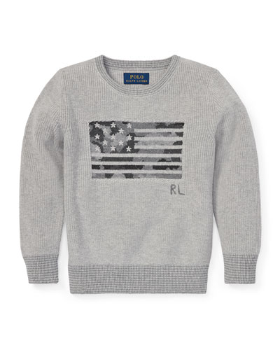 Camo American Flag Knit Sweater, Size 2-4